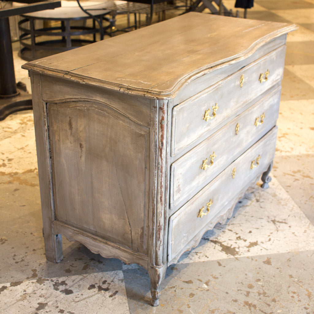 Antique French Dresser in Distressed Gray Finish with Brass Hardware