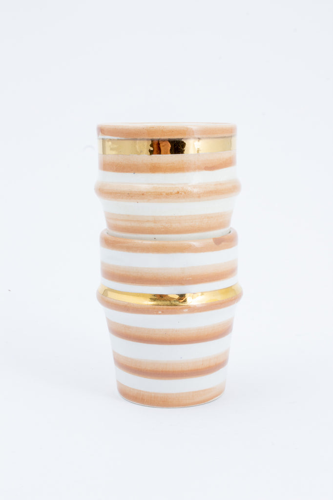 Handmade Nude Stripe Glazed Moroccan Espresso Cups with 12K Gold