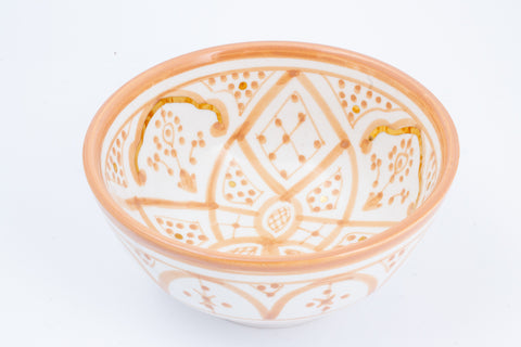 Handmade Nude Glazed Moroccan Bowl with 12K Gold Accents | Medium