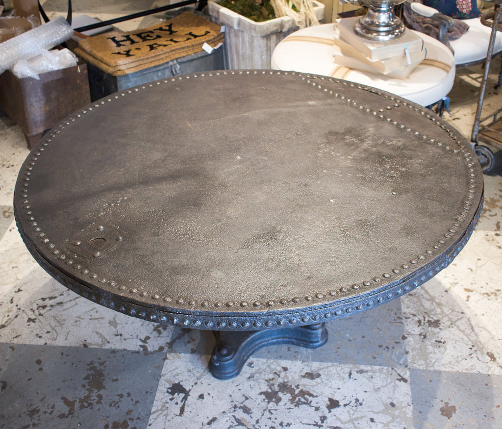 Antique Iron Table Crafted from a French Brewery Tank Found in France