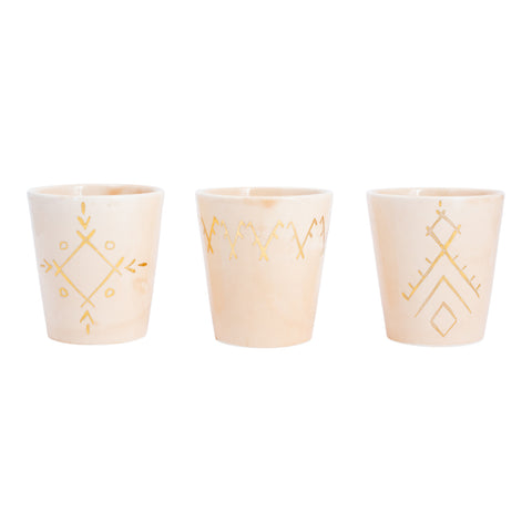 Handmade Nude Glazed Moroccan Cups with 12K Gold Accents