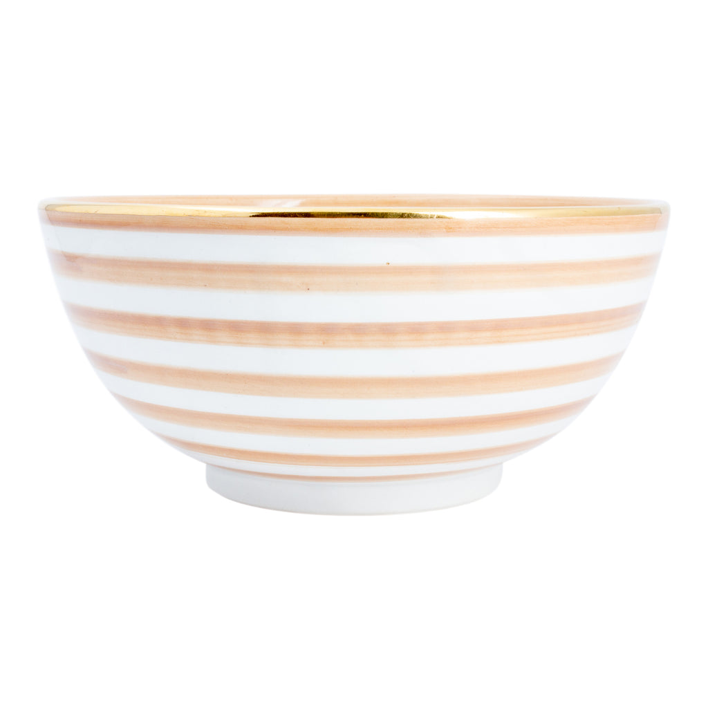 Handmade Nude Stripe Glazed Moroccan Bowl with 12K Gold Accent - Large