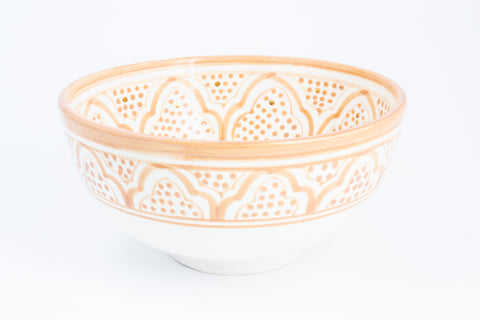 Handmade Nude Zwak Glazed Moroccan Bowl with 12K Gold Accent - Large