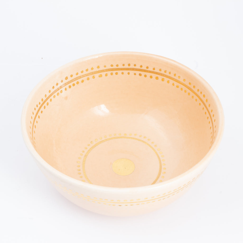 Handmade Nude Berber Glazed Moroccan Bowl with 12K Gold Accent - Large
