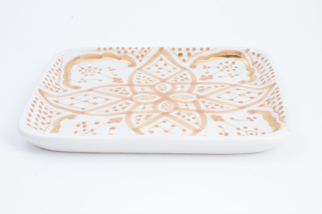 Handmade Nude Zwak Glazed Moroccan Tray with 12K Gold Accent