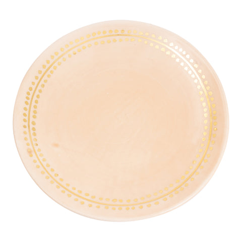 Handmade Nude Glazed Moroccan 8-Inch Plate with 12K Gold Accent