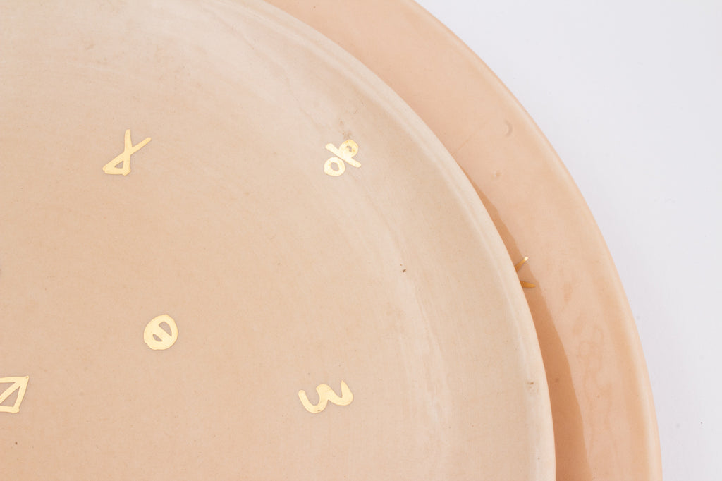 Handmade Nude Glazed Moroccan Plates with 12K Gold Accent