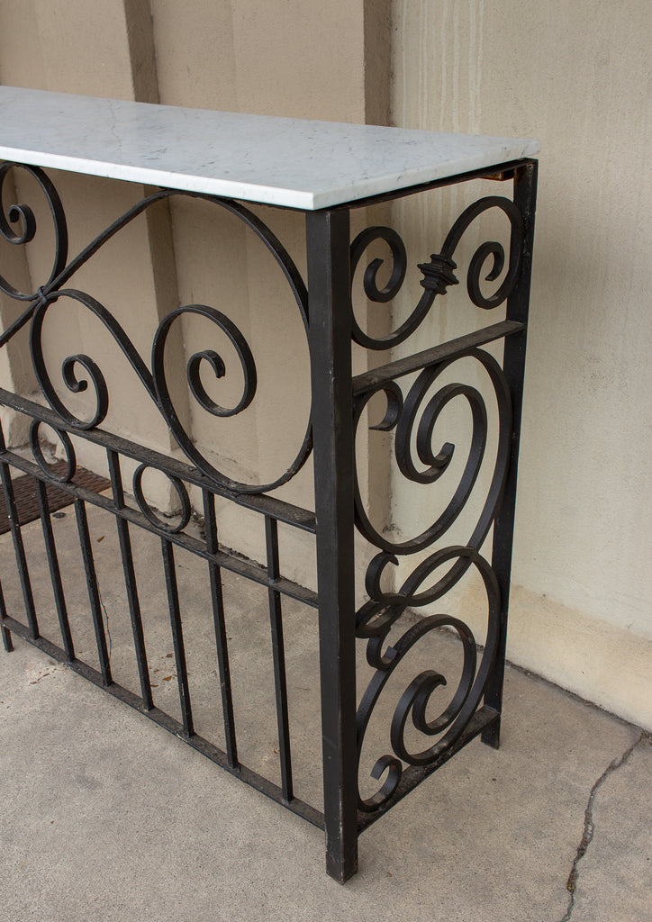 French Art Deco Iron Console Bar with Marble Top