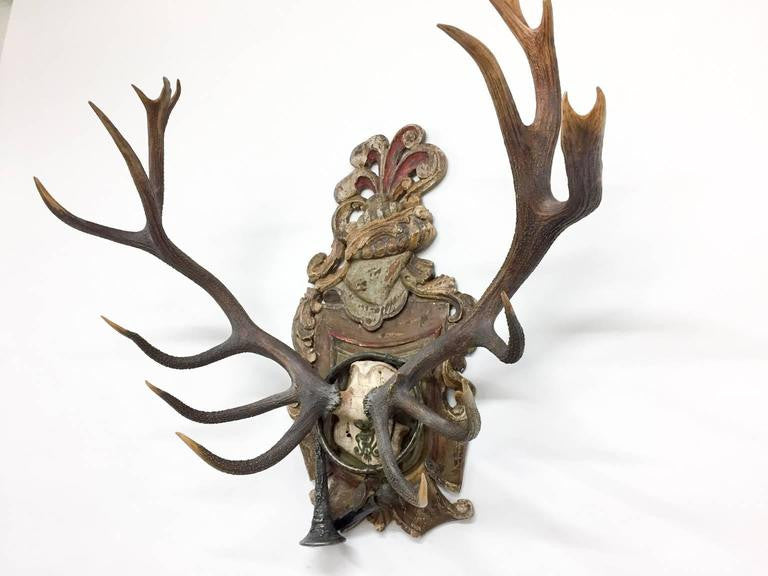 18th Century Frederick III of Prussia Red Stag Trophy on Original Plaque