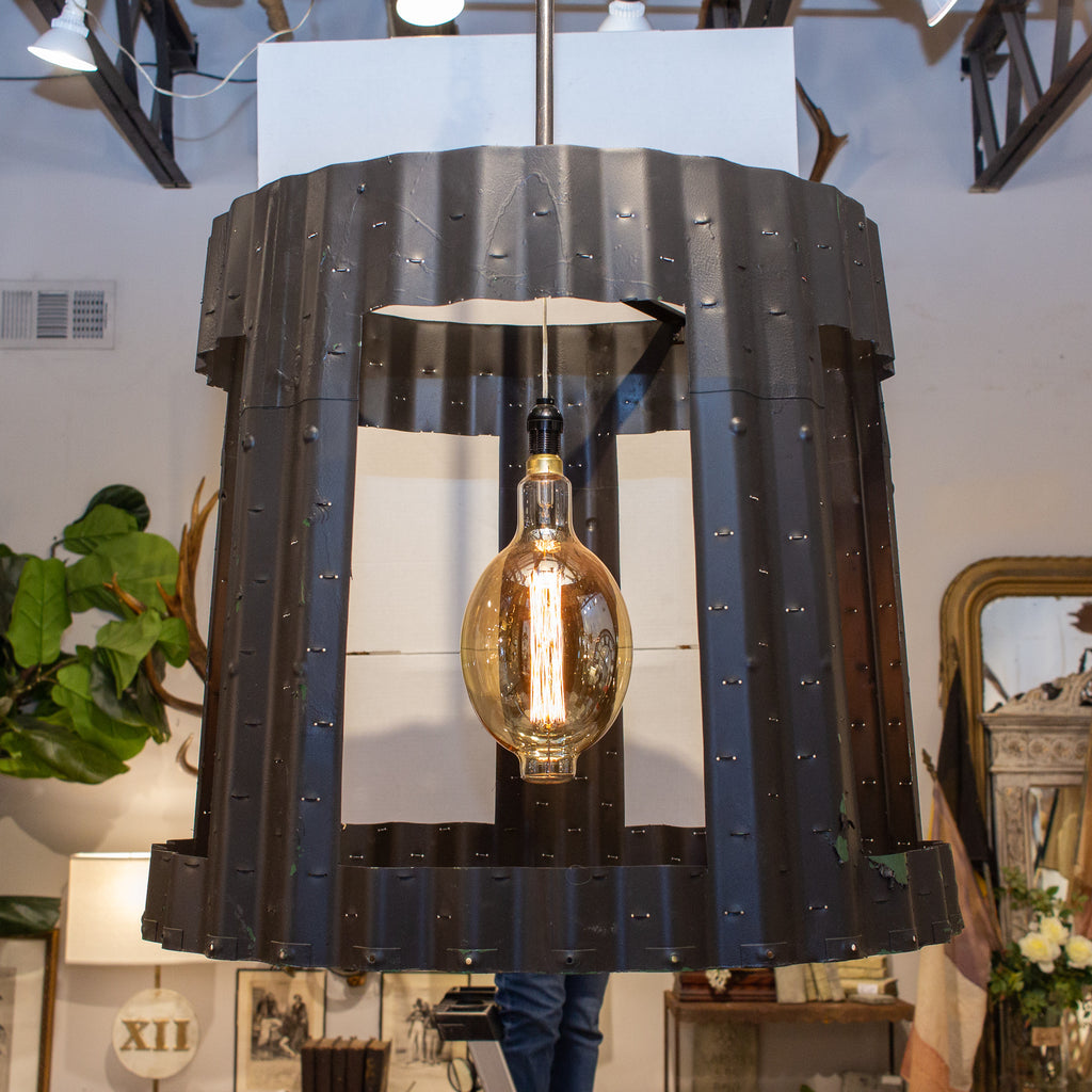 Oversized Pendant Chandelier Crafted from Vintage Aircraft Parts