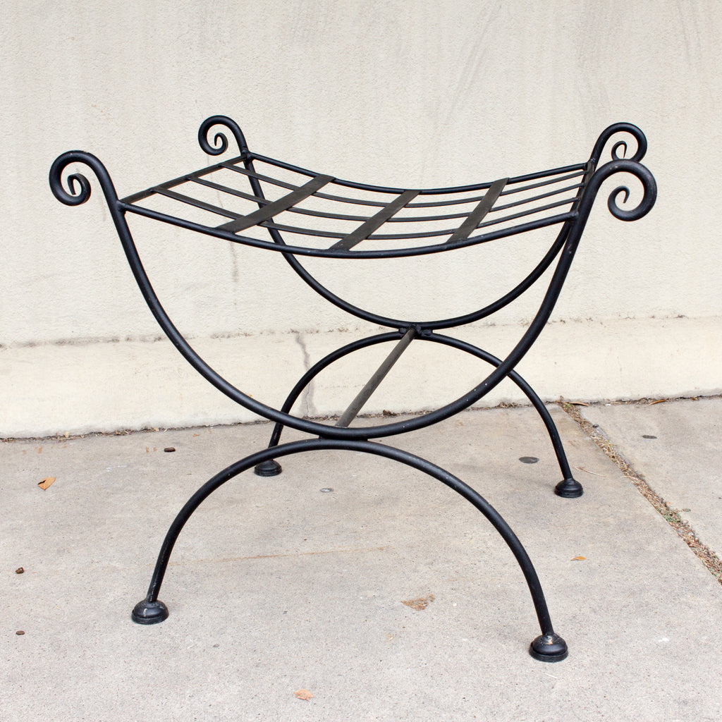 Vintage Woven Iron Stool Ottoman Found in France
