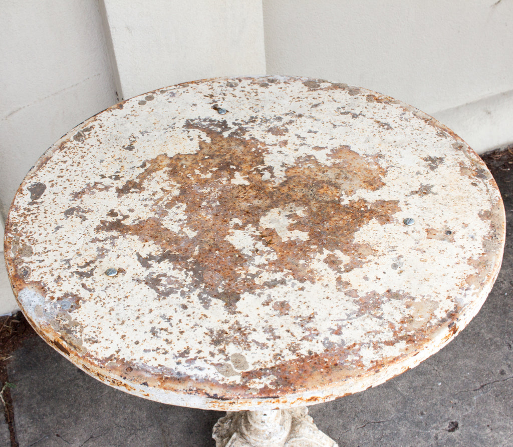 Rustic Painted 1920s Cast Iron and Metal Bistro Table Found in France
