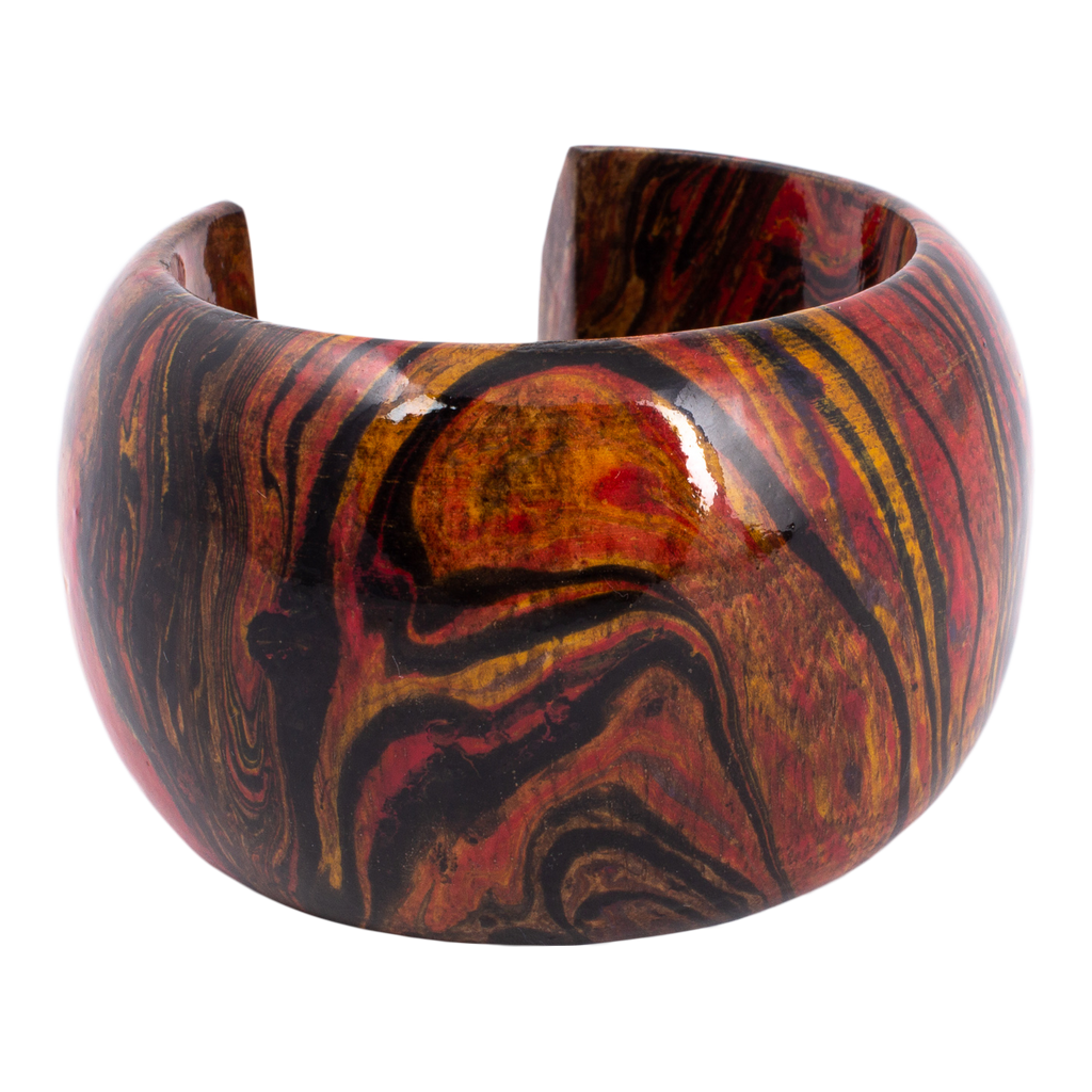 Hand-Painted Marble Wood Cuffs from Sri Lanka
