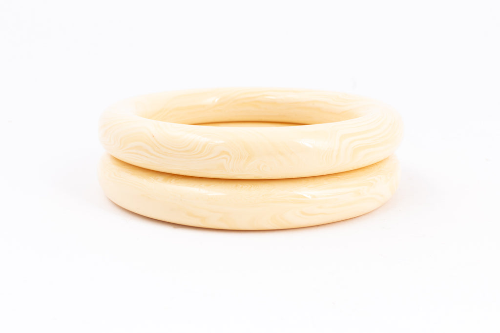Vintage Thin Camel Bone Bangles found in Sri Lanka | Set of Two