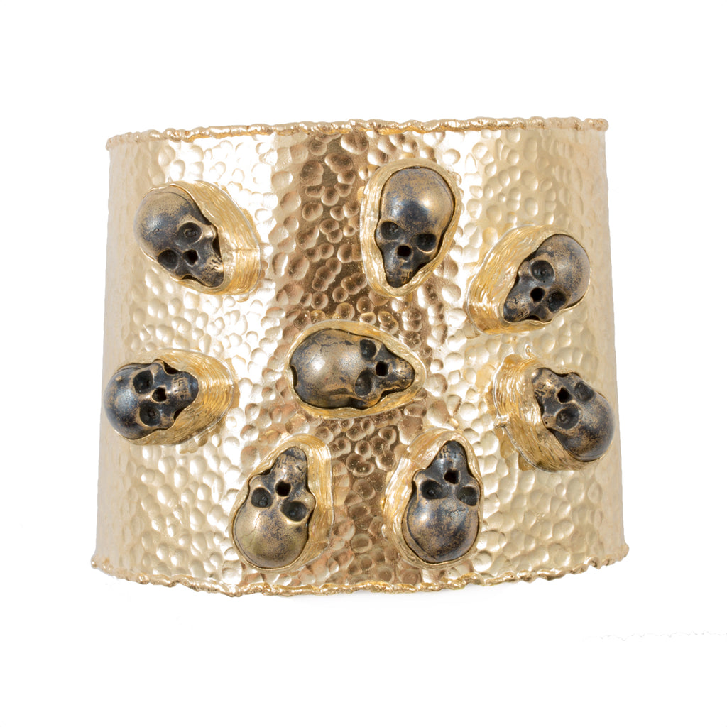 Handmade Burnished Skull Stone & Brass Cuff from Istanbul