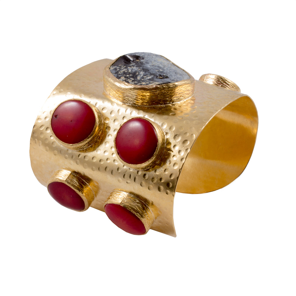 Handmade Natural Stone & Brass Turkish Cuff with Red Coral