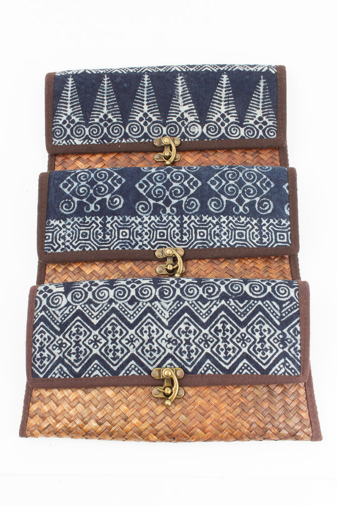 Sri Lankan Indigo Clutch with Shoulder Strap