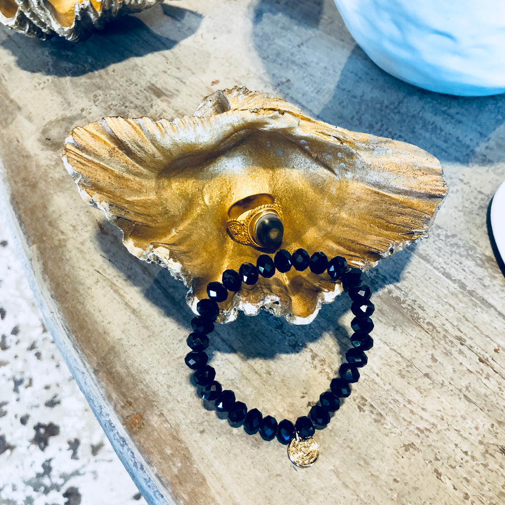 Cast Resin Shell Dish in Sparkling Gold