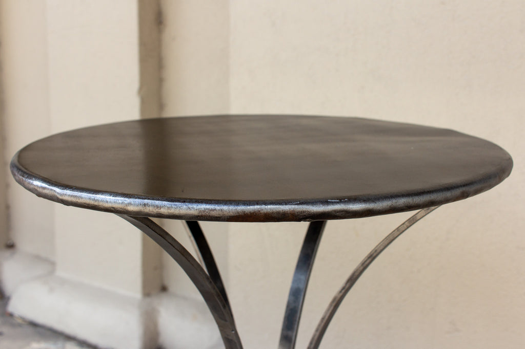 Handmade Round Iron Accent Table with Ring Detail