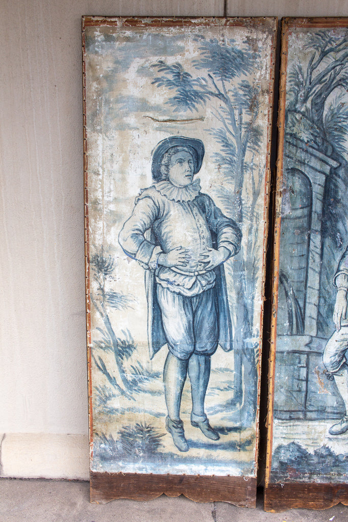 Early 19th Century French Painted Screen Panels in Blue and White