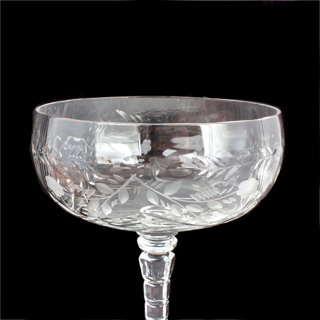 Set of Six Antique French Cut Crystal Champagne Coupes
