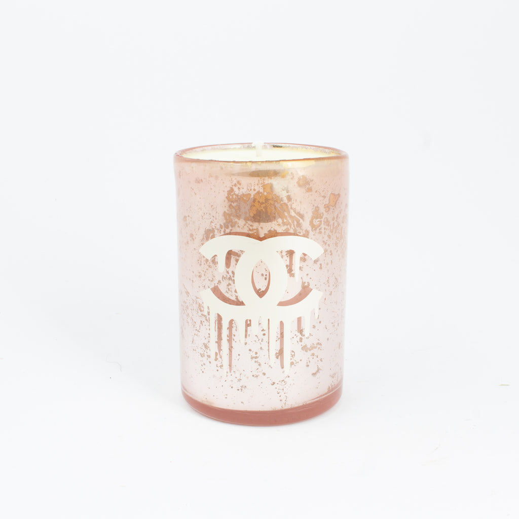 Pink Mercury Glass Candles with Dripping Chanel Logo