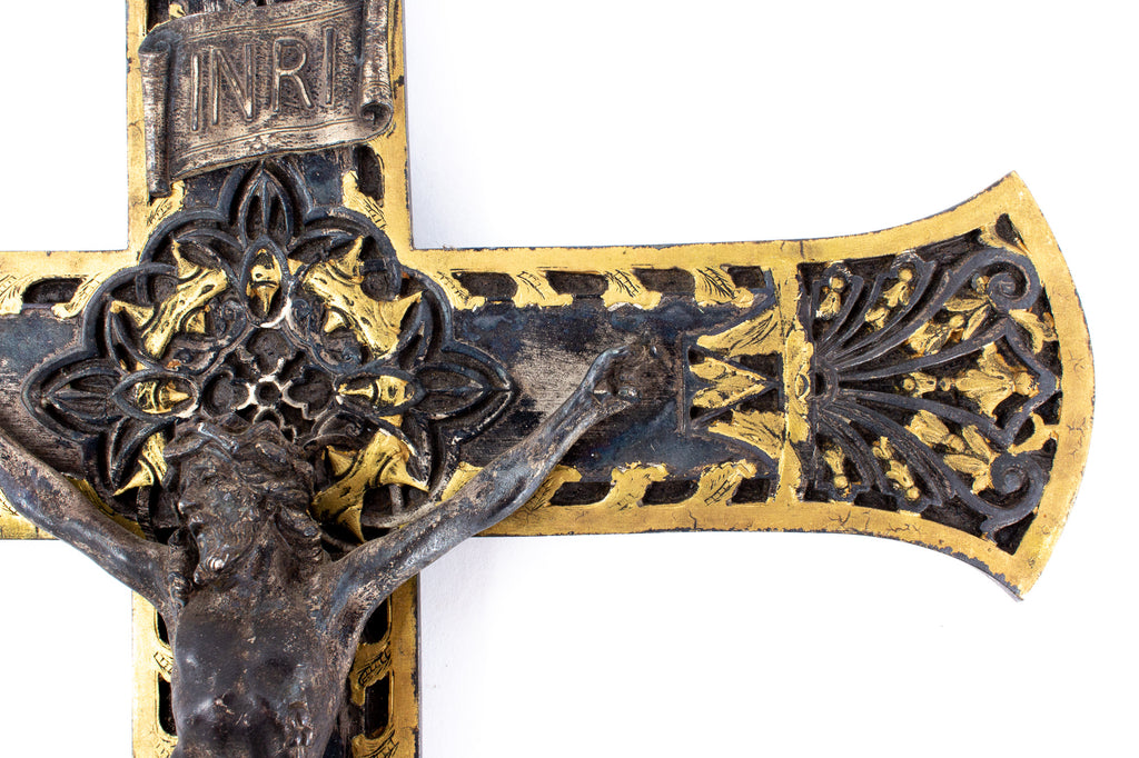 Antique Gilt Iron Crucifix found in France