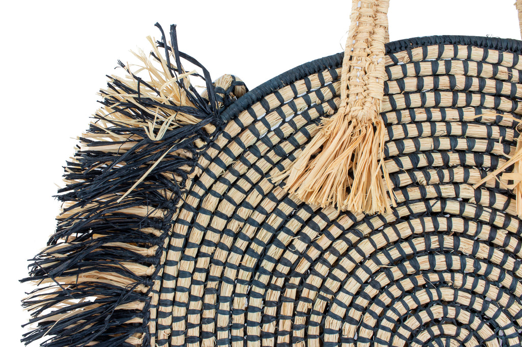 Black & Neutral Raffia Circle Totes | Two Sizes Available