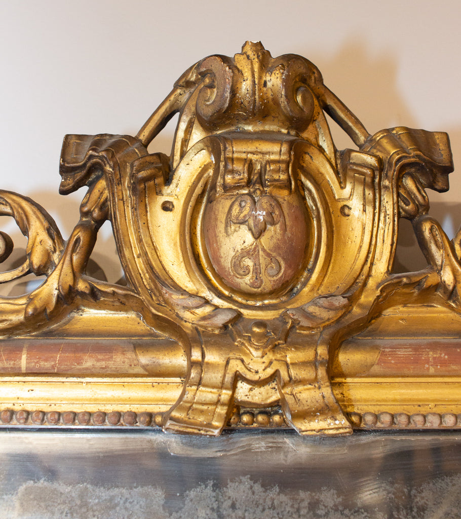 Antique French Louis Philippe Gilt Mirror with Scroll Cartouche Detail