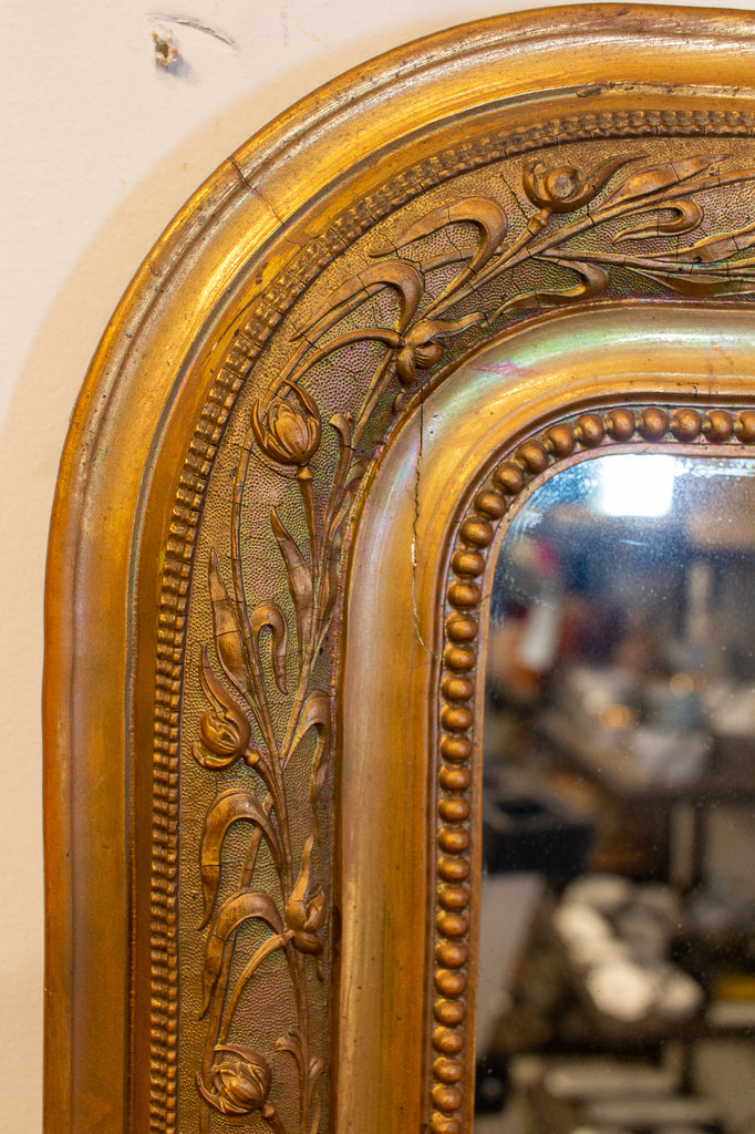 Antique French Louis Philippe Gilt Mirror with Detailed Floral Frame