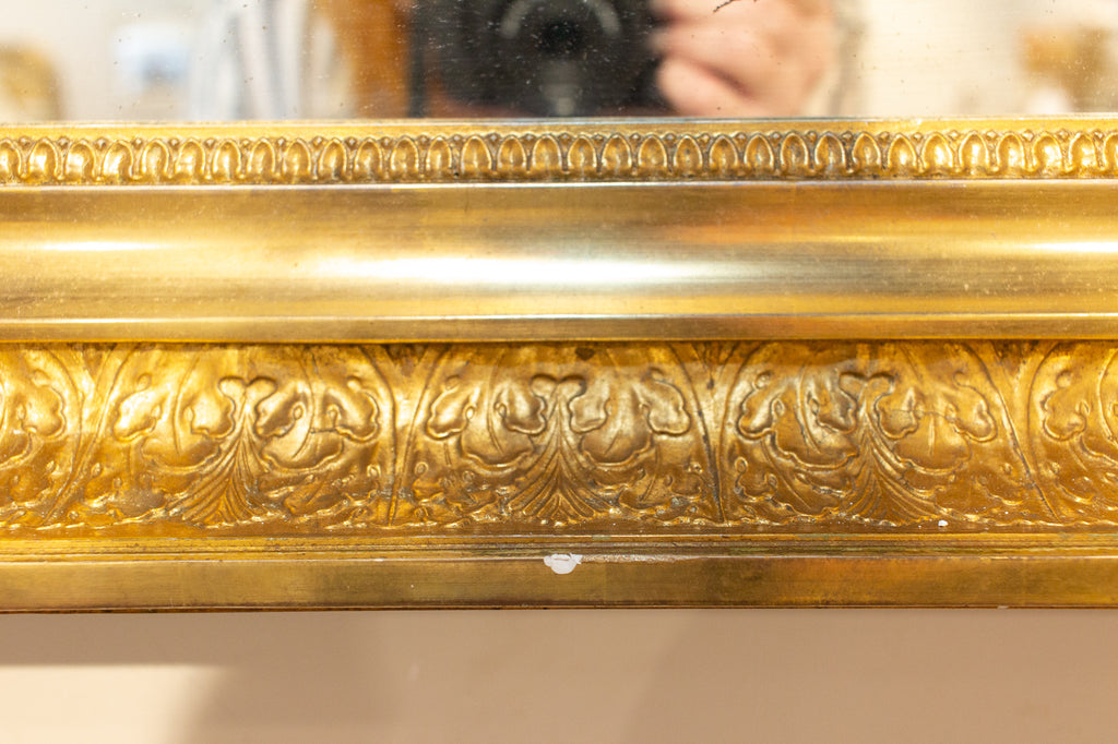 Antique French Rectangular Gilt Reverse Bevel Frame Mirror