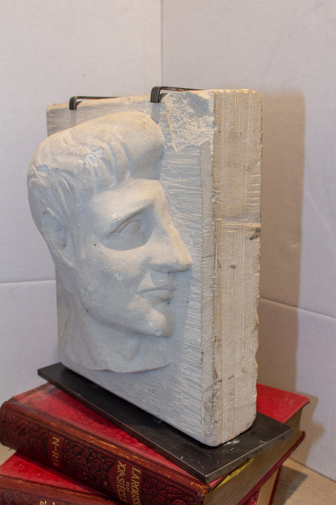 Vintage Stone Portrait Relief on Iron Stand