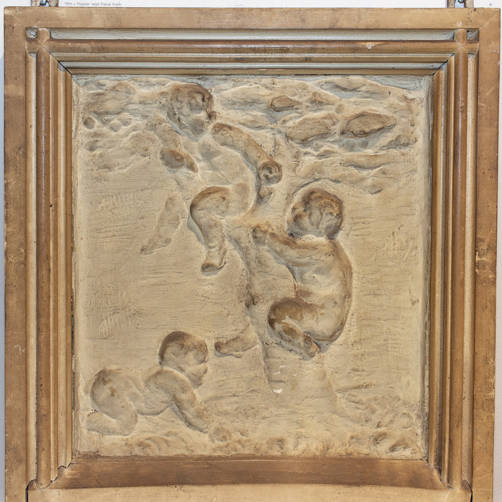 Antique Belgian Plaster Panel with Cherub Imagery
