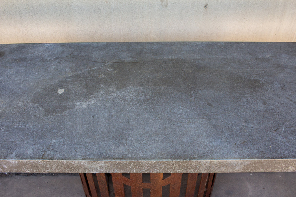 Industrial Zinc Console on Repurposed Iron Base (Pair available)