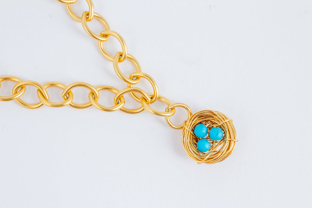 Handmade Birds Nest Pendant on Link Bracelet