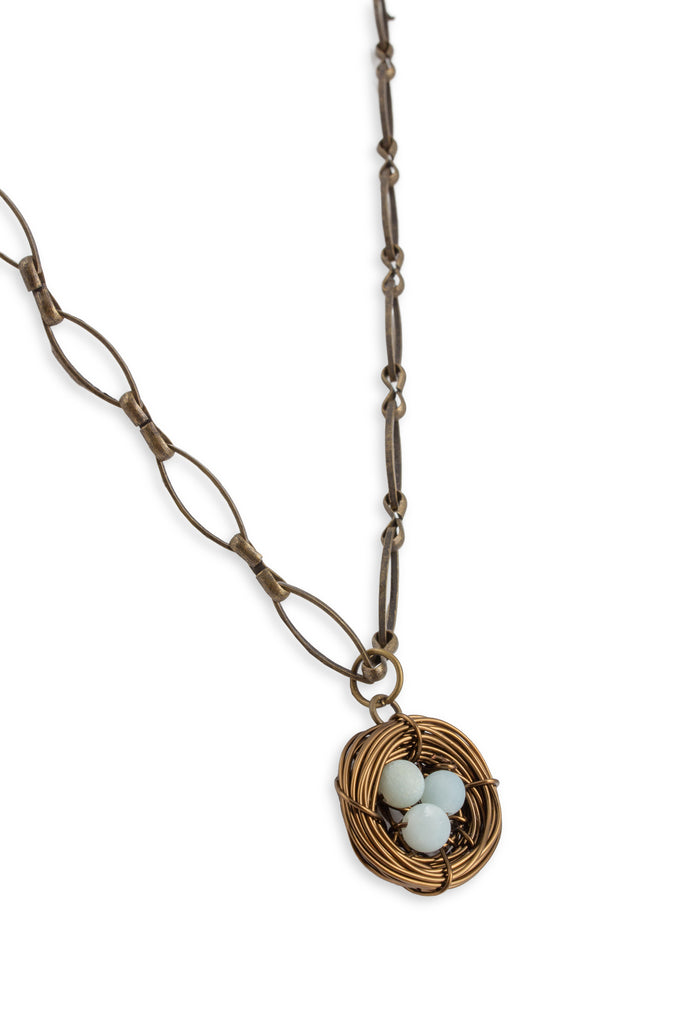 Handmade Birds Nest Pendant Necklace