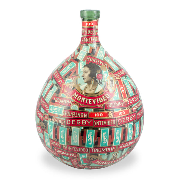 Antique French Demijohn Bottle Covered with Vintage Cigar Labels