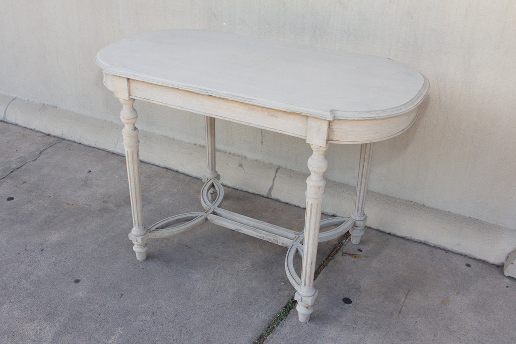 Beautifully Detailed Belgian Wood Accent Table in Greige Wash, circa 1900