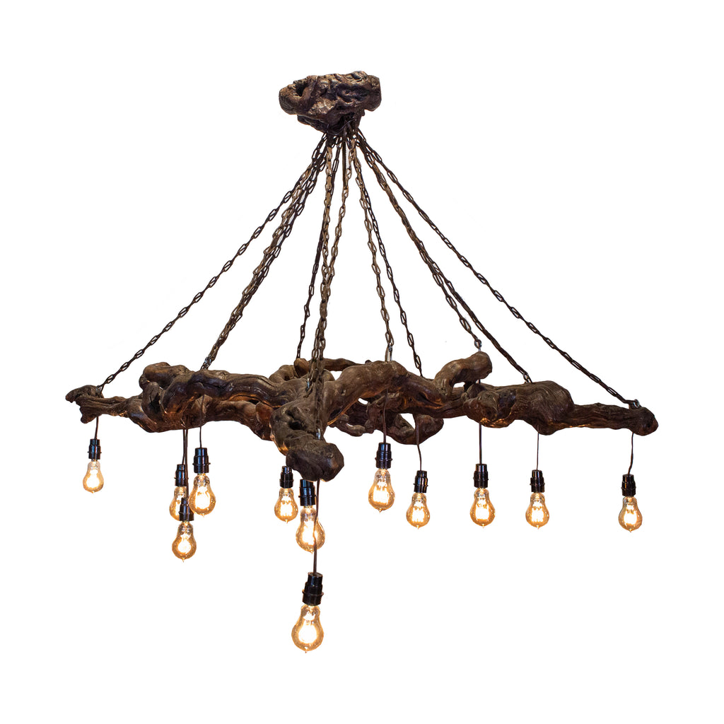 Antique French Vineyard and Chain Chandelier with Edison Bulbs
