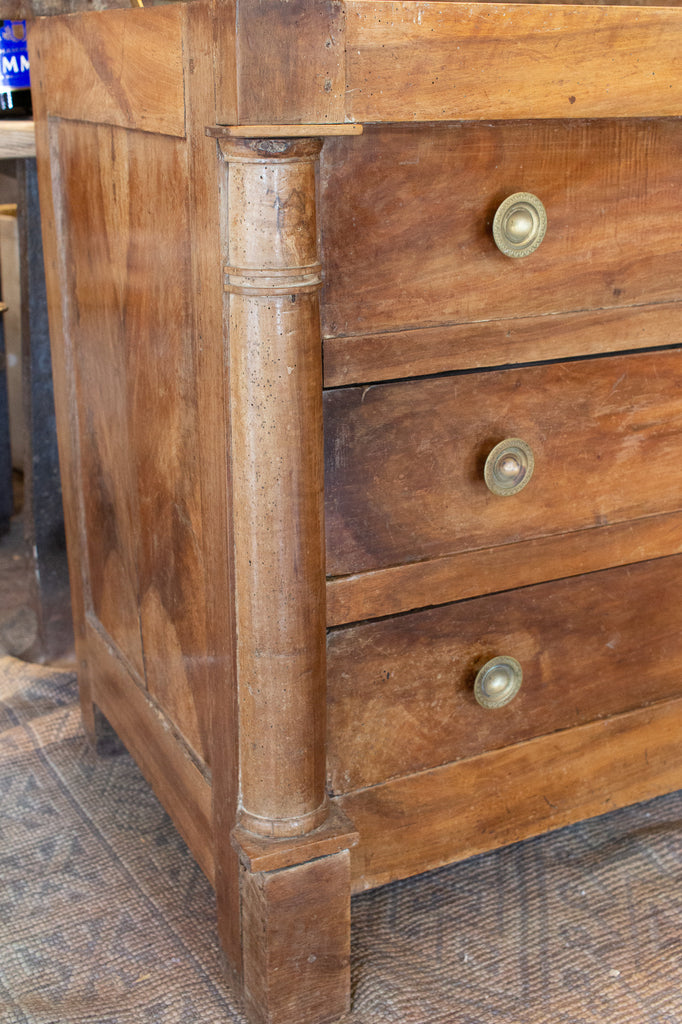 Antique French Walnut Chest with Hinged Lid and Two Drawers