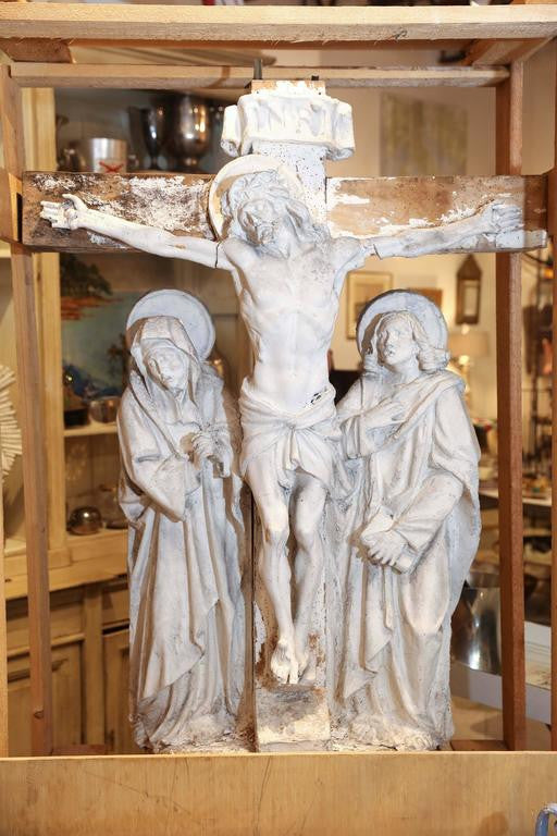 "Large Antique Belgian Plaster ""Master"" Form of Christ & Saints Altarpiece"