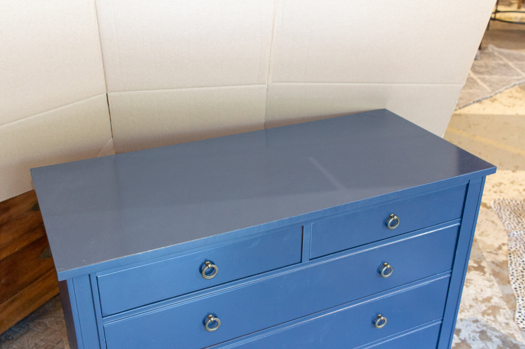 Midcentury French Hollywood Regency Dresser in Hale Navy Painted Finish