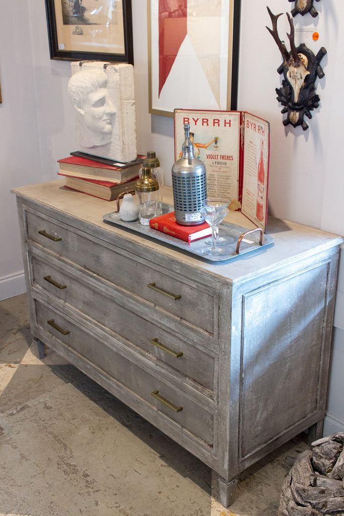 Midcentury Three-Drawer Chest in Greige Finish and Modern Hardware