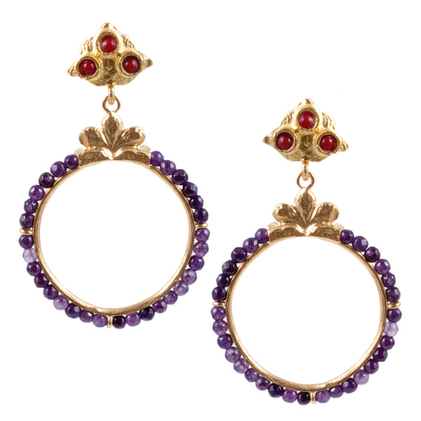 Turkish Delights Earrings: Amethyst Bead Hoops