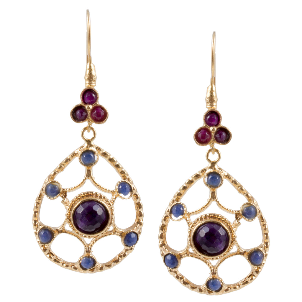 Turkish Delights Earrings: Amethyst Cabochon Drops