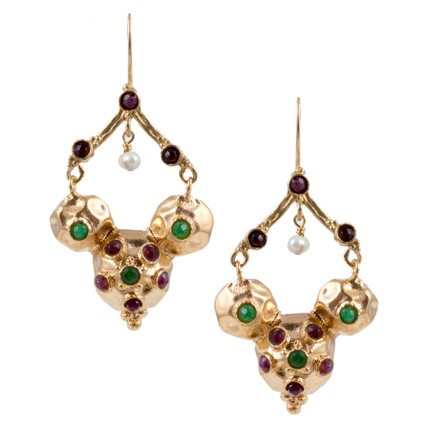 Turkish Delights Earrings: Colorful Dome Drops with Pearl Accents