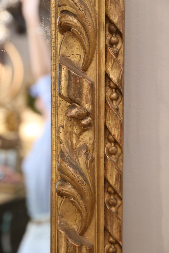 Antique French Hand Carved Gilt Louis Philippe Mirror with Ribbon & Leaf Detail