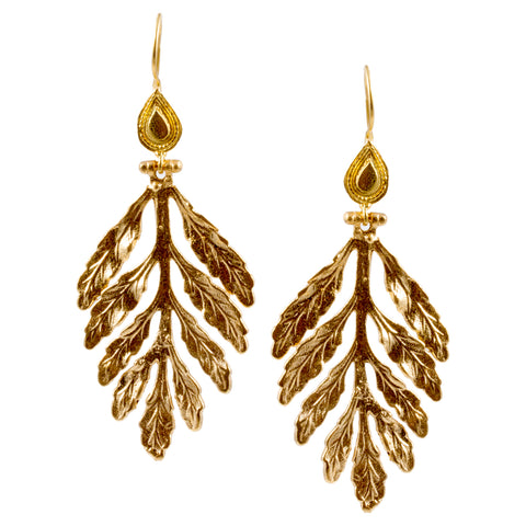 Turkish Delights Earrings: Fern Leaf Drops