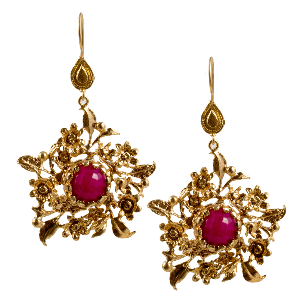 Turkish Delights Earrings: Floral Filigree Drops with Fuchsia Center Stone