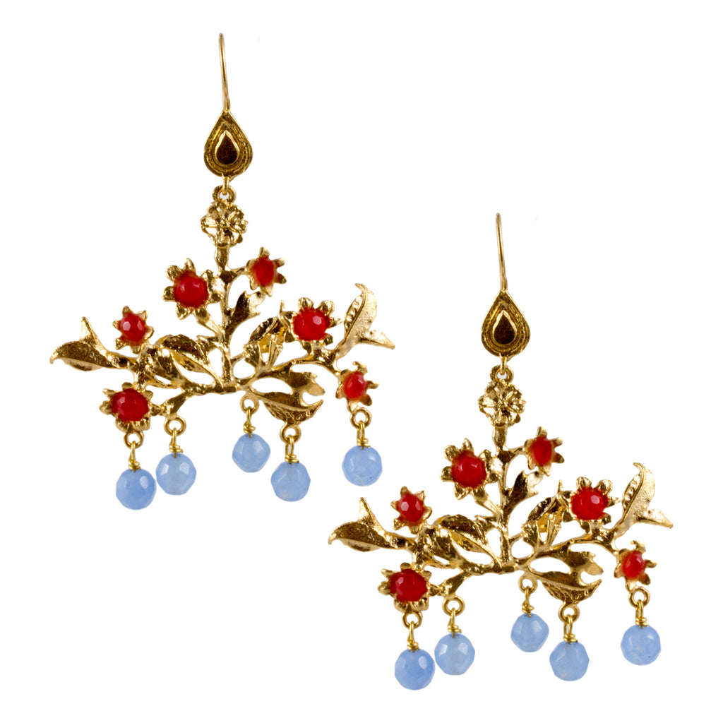 Turkish Delights Earrings: Floral Chandelier Drops in Blue & Red